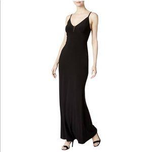 Calvin Klein Mesh Deep V Jersey Gown 4 Black